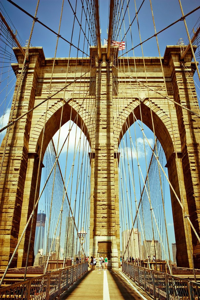 Stock Photo: 1566-1128054 Brooklyn Bridge Tower and Suspension wires