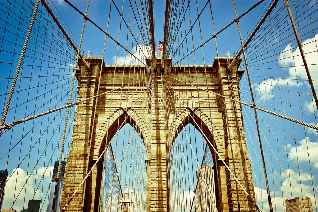 Stock Photo: 1566-1128057 Brooklyn Bridge Tower and Suspension wires