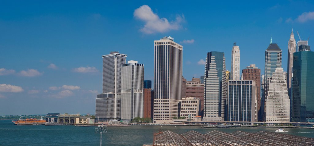 New York Skyline, East River and New York Harbor : Stock Photo