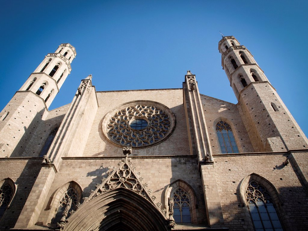 Stock Photo: 1566-1128503 Church of Santa Maria del Mar, Barcelona. Catalonia, Spain