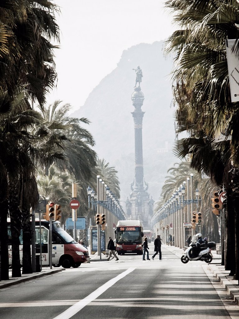 Stock Photo: 1566-1128768 Passeig de Colom with the Columbus Monument in background, Barcelona, Catalonia, Spain