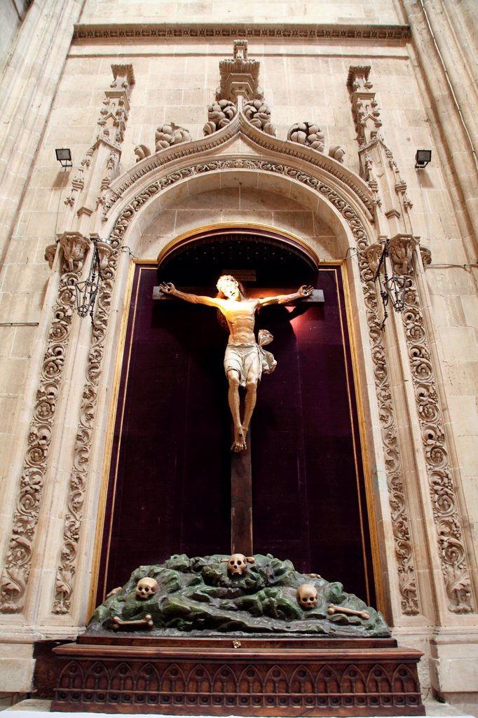 Stock Photo: 1566-1128908 Jesus crucified, Interior of the Cathedral, Salamanca, Castilla y Leon, Spain, Europe