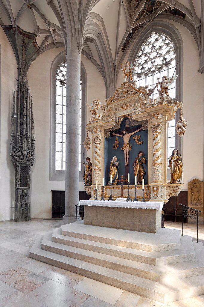Georgs church, high altar, Noerdlingen, Bavaria, Germany : Stock Photo