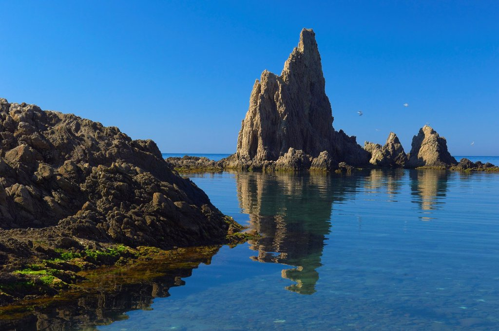 Stock Photo: 1566-1130428 Reef of the Mermaids, Cabo de Gata-Nijar Natural Park, Arrecife de las Sirenas, Biosphere Reserve, Almeria province, Andalucia, Spain
