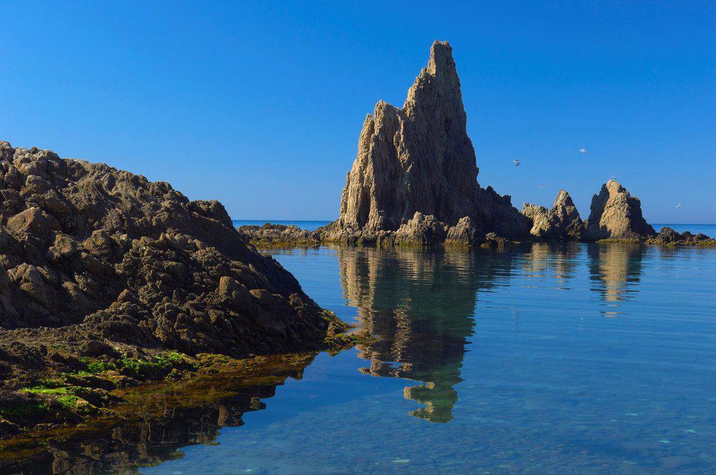 Reef of the Mermaids, Cabo de Gata-Nijar Natural Park, Arrecife de las Sirenas, Biosphere Reserve, Almeria province, Andalucia, Spain : Stock Photo