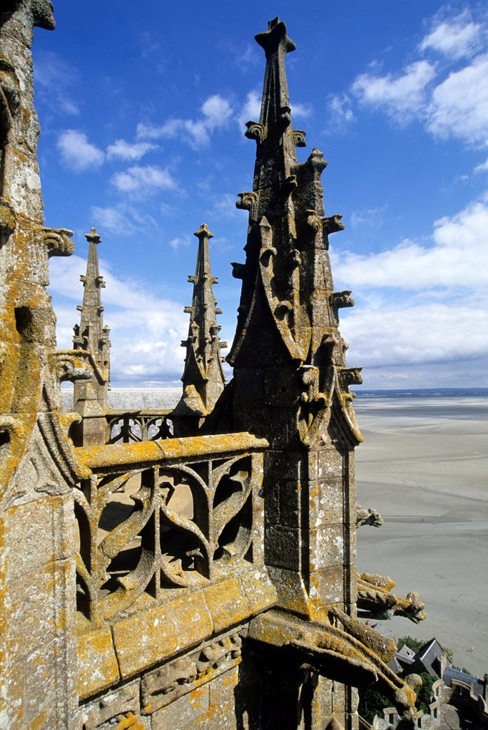 abbey church, Mont-Saint-Michel bay, Manche department, Normandy region, France, Europe : Stock Photo