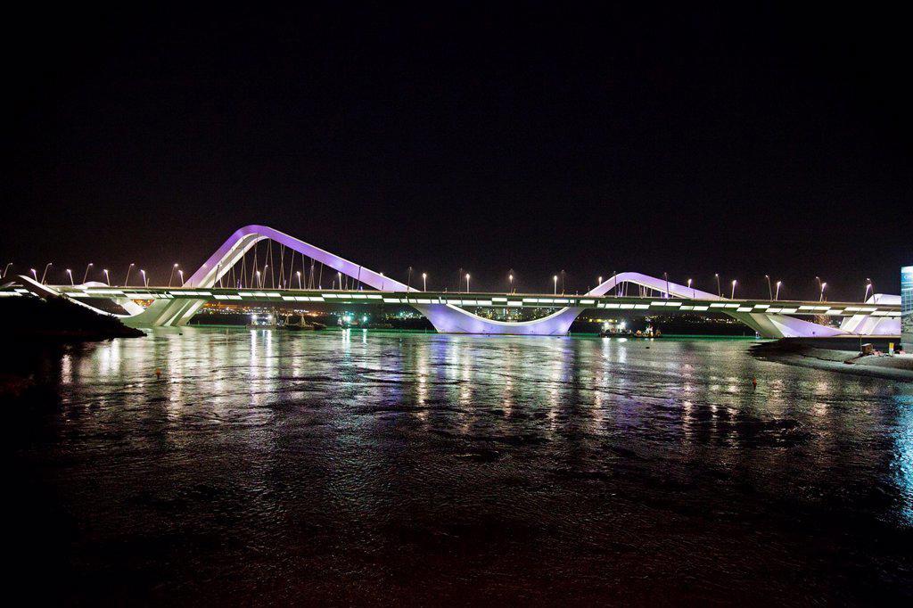 Stock Photo: 1566-1130963 Sheikh Zayed Bridge, Abu Dhabi, United Arab Emirates, Middle East.