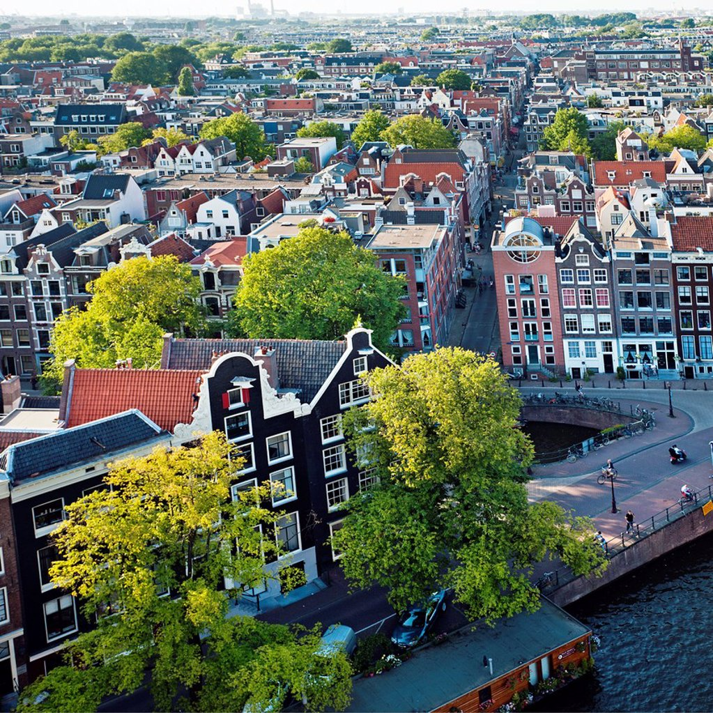 Stock Photo: 1566-1131082 View of the city from Wester Kerk church, Amsterdam, Netherlands.