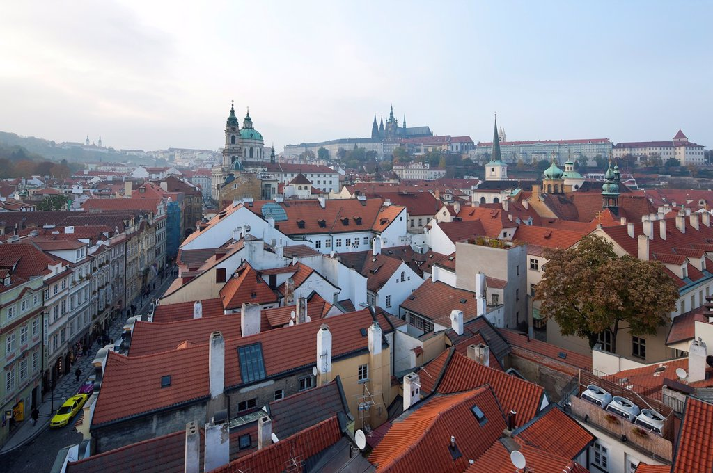 Stock Photo: 1566-1131223 Prague Castle, St Nicholas Church, View from bridge tower of historic district, Prague, Czech Republic