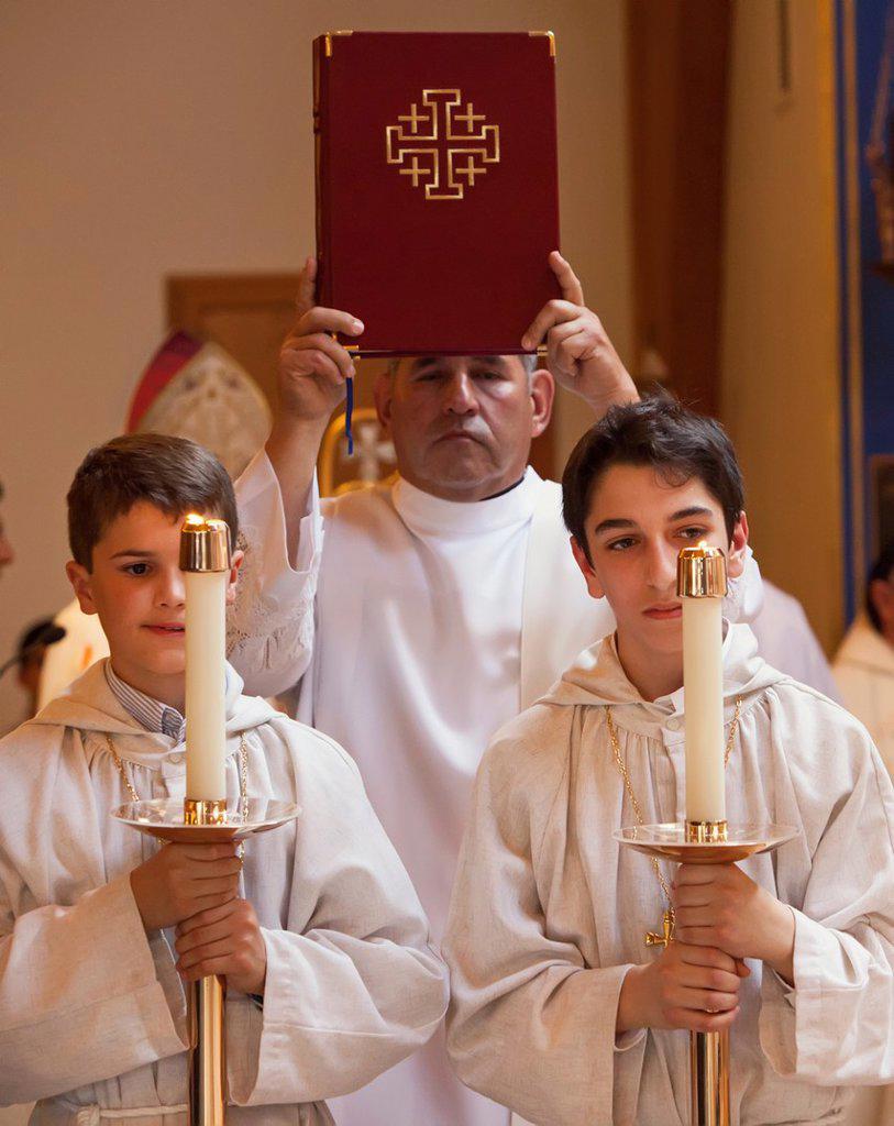 Stock Photo: 1566-1131290 Warren, Michigan - Altar boys during the celebration of the Divine Liturgy at St  Sharbel Maronite Catholic Church