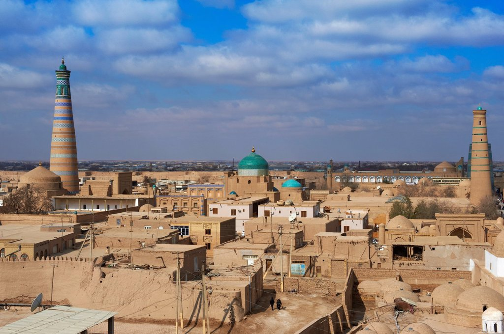 Stock Photo: 1566-1131370 Uzbekistan, Khiva, Unesco World Heritage, city and Islam Hoja minar