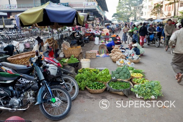 Stock Photo: 1566-1131417 Myanmar, Burma  Mandalay Street Scene  Vegetables for sale on the street