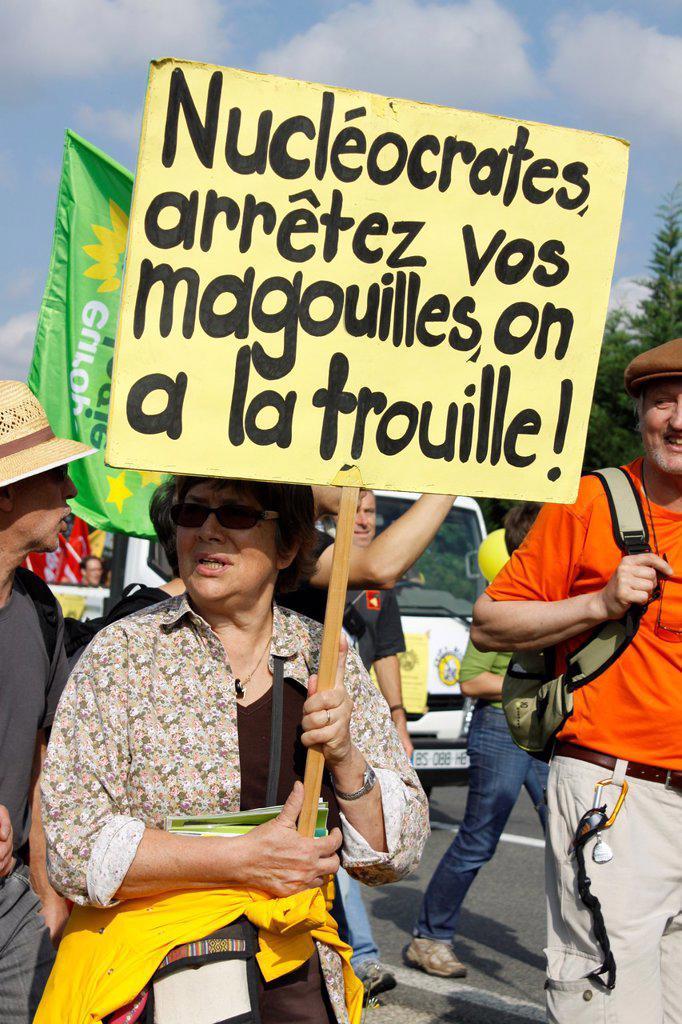 Stock Photo: 1566-1131636 Protest against Nuclear power station, Ain, Bugey, Saint-Vulbas, Rhône-Alpes, France