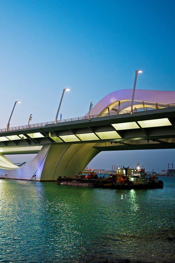 Sheikh Zayed Bridge, Abu Dhabi, United Arab Emirates, Middle East. : Stock Photo