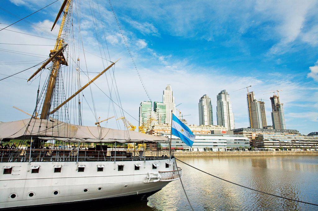 Stock Photo: 1566-1132113 Sailboat, Puerto Madero docks  Buenos Aires  Argentina, Buenos Aires, Argentina.