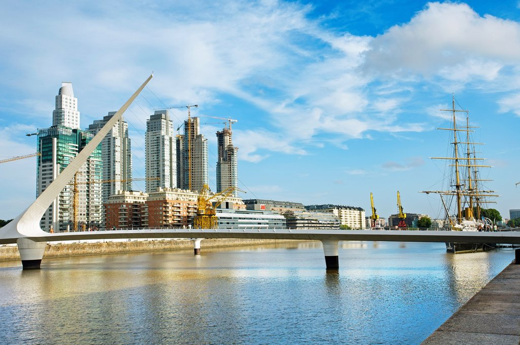 Stock Photo: 1566-1132174 Puente de la Mujer and modern buildings in Puerto Madero neighbourhood, Buenos Aires, Argentina.