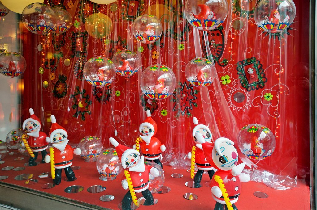 Stock Photo: 1566-1132226 Santa Claus, Christmas Decorations, San Telmo District, Buenos Aires, Argentina.