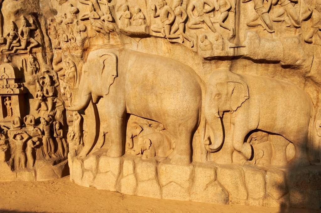 Stock Photo: 1566-1133174 India, Tamil Nadu, Mamallapuram or Mahabalipuram, Arjunas Penance granite carvings, Unesco world heritage