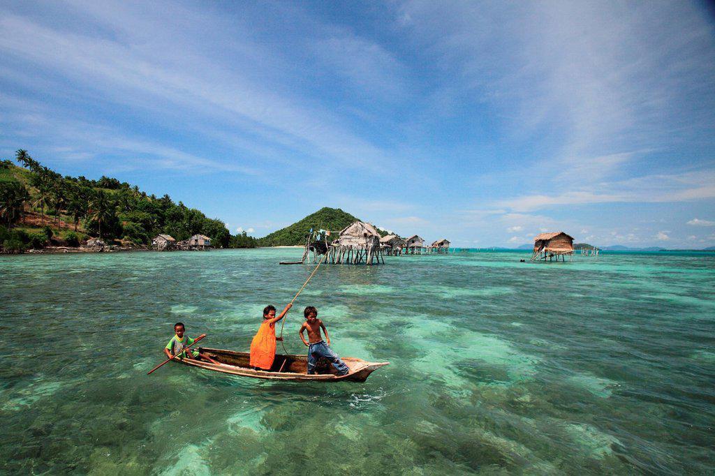 Stock Photo: 1566-1133503 Scene of Bajao stilt village, Omada island, Semporna, Sabah, malaysia, borneo