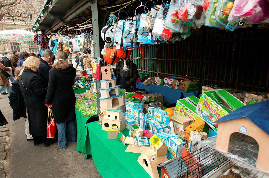 Bird Market on Ile de la Cite in Paris : Stock Photo