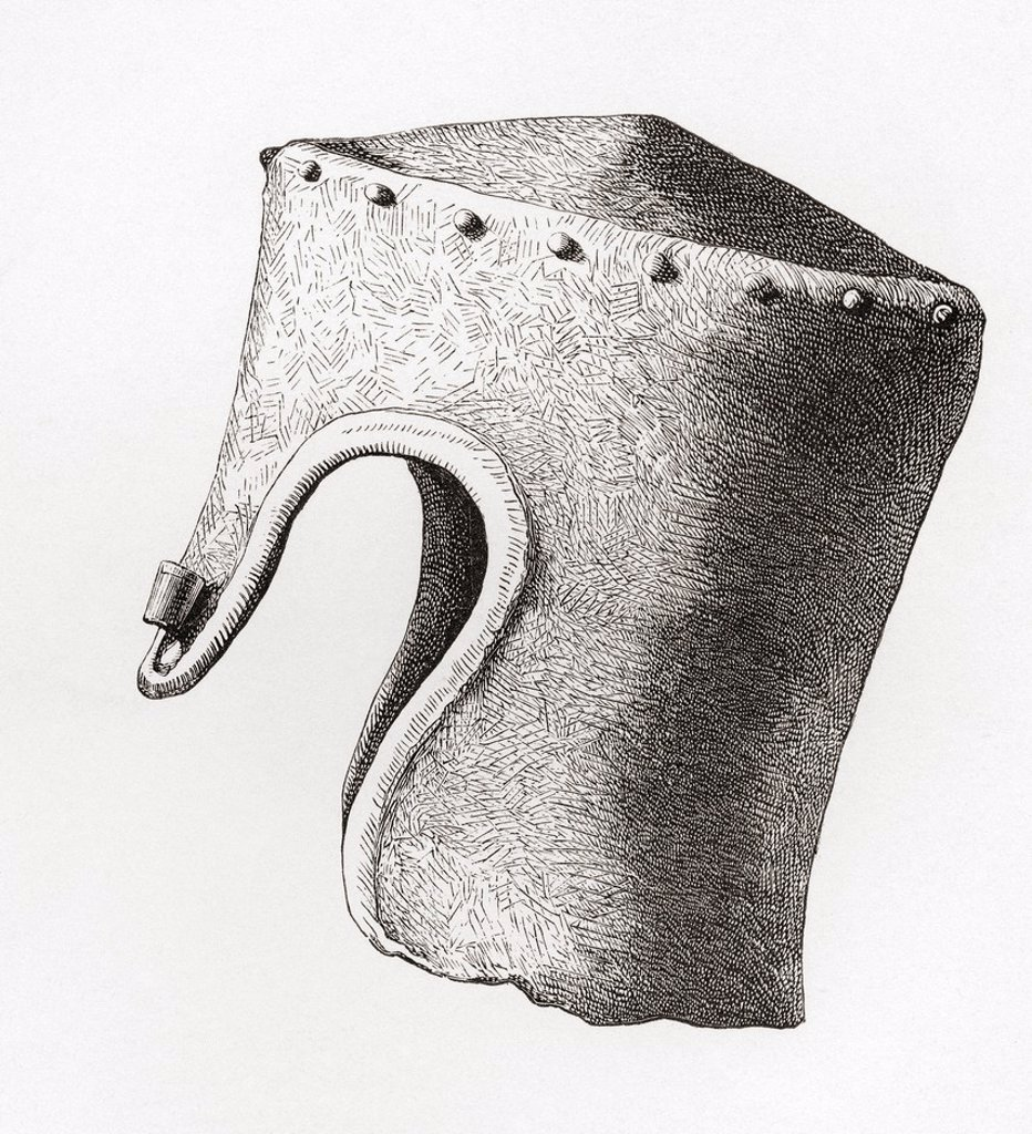 Stock Photo: 1566-1135127 Thirteenth century Cylindrical Flat-topped Helmet with Nasal, dug up at Montgomery Castle in 1841  From The British Army: It´s Origins, Progress and Equipment, published 1868