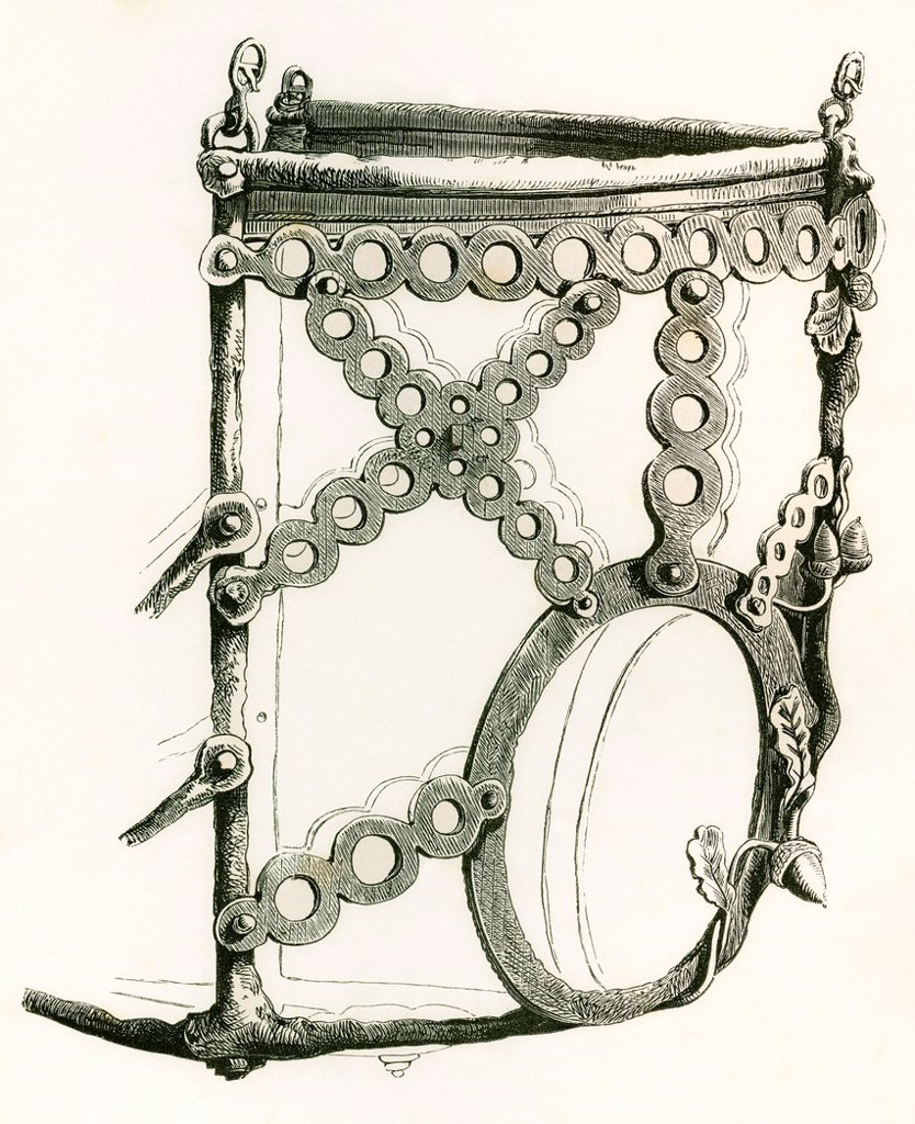 Perforated steel horse muzzle dating from A D  1570  From The British Army: It´s Origins, Progress and Equipment, published 1868 : Stock Photo