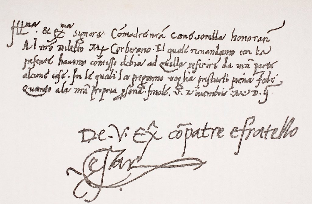 Stock Photo: 1566-1135157 Autograph letter of Cesare Borgia, 1475 or 1476 - 1507 to Isabella Gonzaga  From The Life of Cesare Borgia by Rafael Sabatini, published by Bretano´s circa 1912