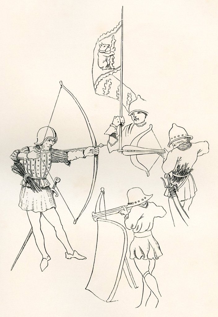 Stock Photo: 1566-1135163 From left clockwise, an archer, the Standard of Richard, Earl of Warwick, a crossbow man and a Pavoiser  From The British Army: It´s Origins, Progress and Equipment, published 1868