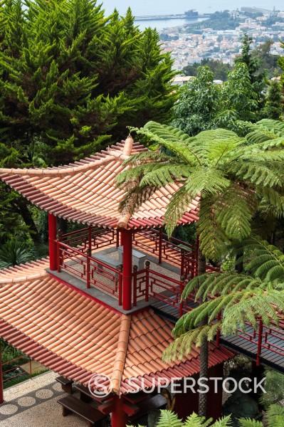 Oriental garden in Jardim do Monte, Funchal, Madeira, Portugal : Stock Photo