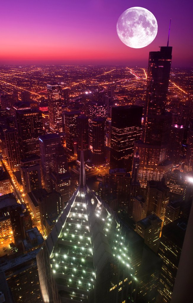 TRUMP TOWER LOOP SKYLINE FROM MID AMERICA CLUB AT THE AON CENTER DOWNTOWN CHICAGO ILLINOIS USA : Stock Photo