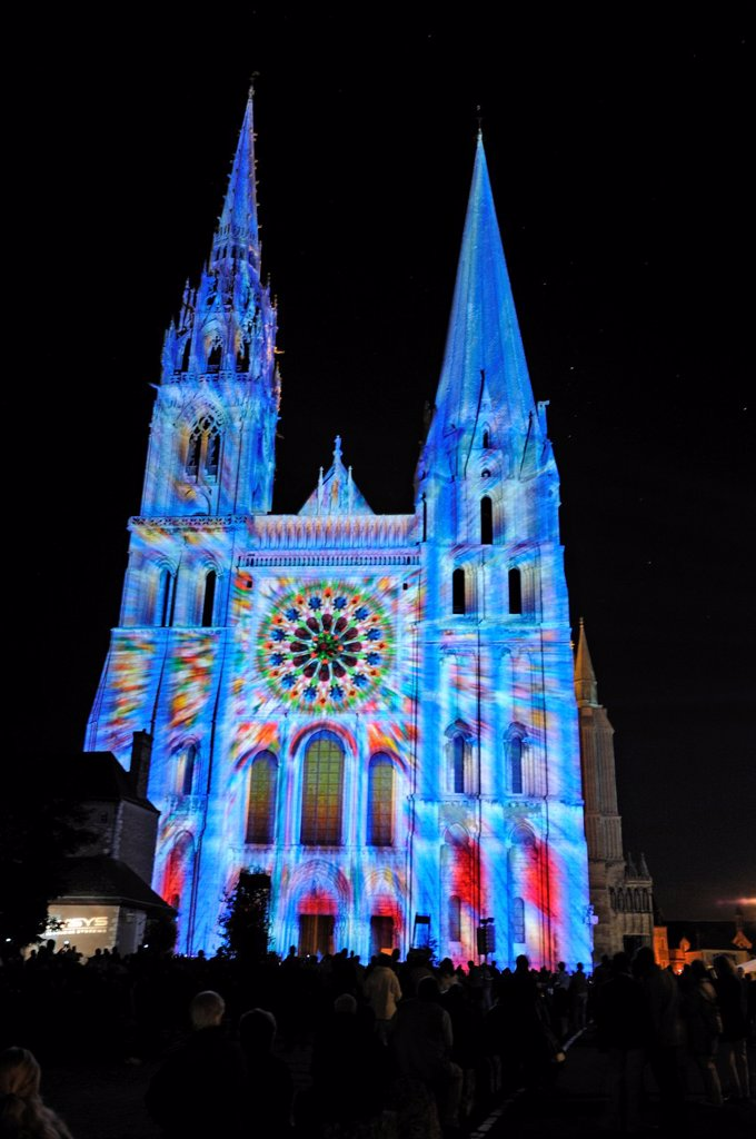 Stock Photo: 1566-1135923 illumination on the west facade of the Cathedrale of Chartres, Eure-et-Loir department, Centre region, France, Europe