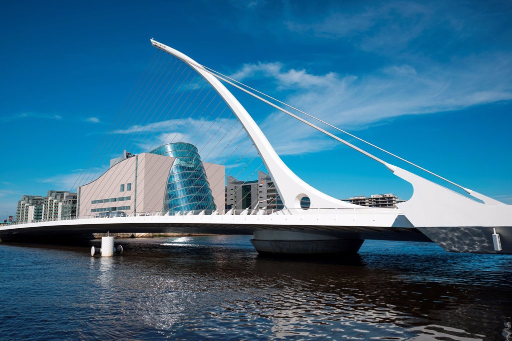 Stock Photo: 1566-1136285 Samuel Beckett Bridge with Irish Financial Services Centre, Dublin, Republic of Ireland