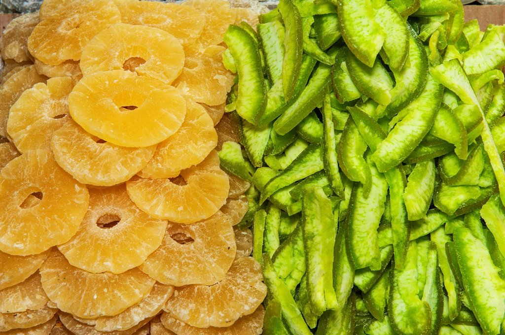 Dried fruits, Egyptian bazaar, Istanbul, Turkey : Stock Photo