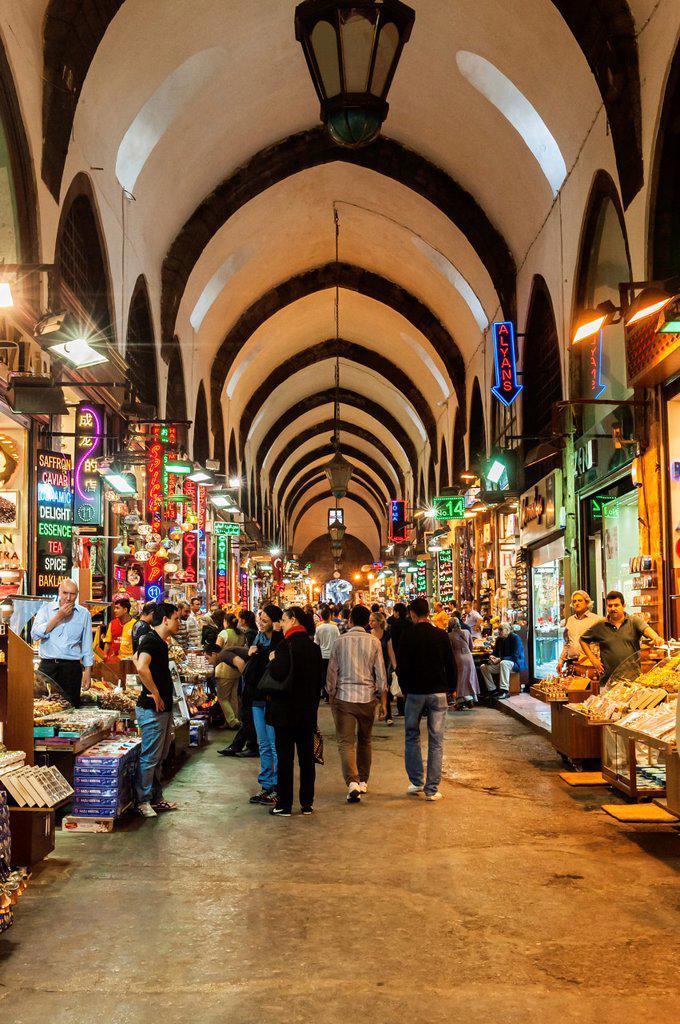Egyptian bazaar, Covered alley, Istanbul, Turkey : Stock Photo