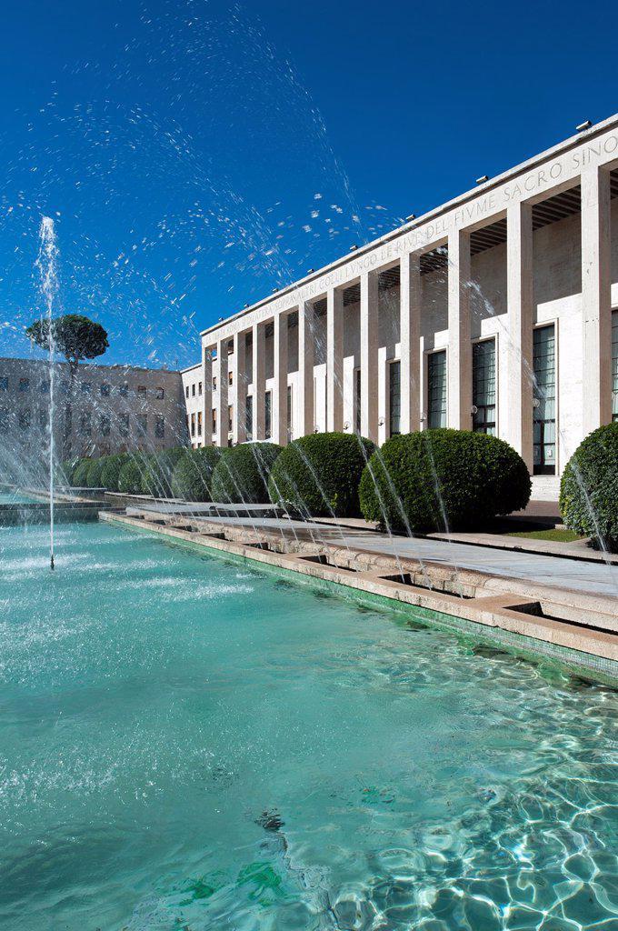 Stock Photo: 1566-1137119 Palazzo degli Uffici, Salone delle Fontane, designed by Gaetano Minnucci  Eur district  Rome, Italy