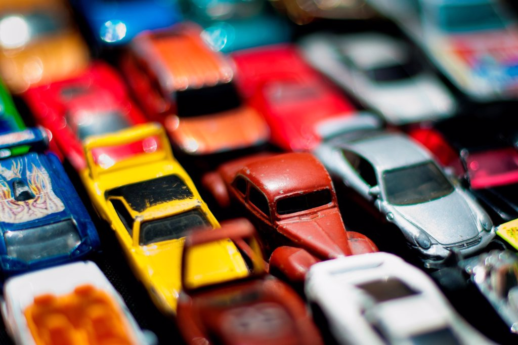 Toy cars on the street market, Bogota, Colombia, 30 May 2010 : Stock Photo
