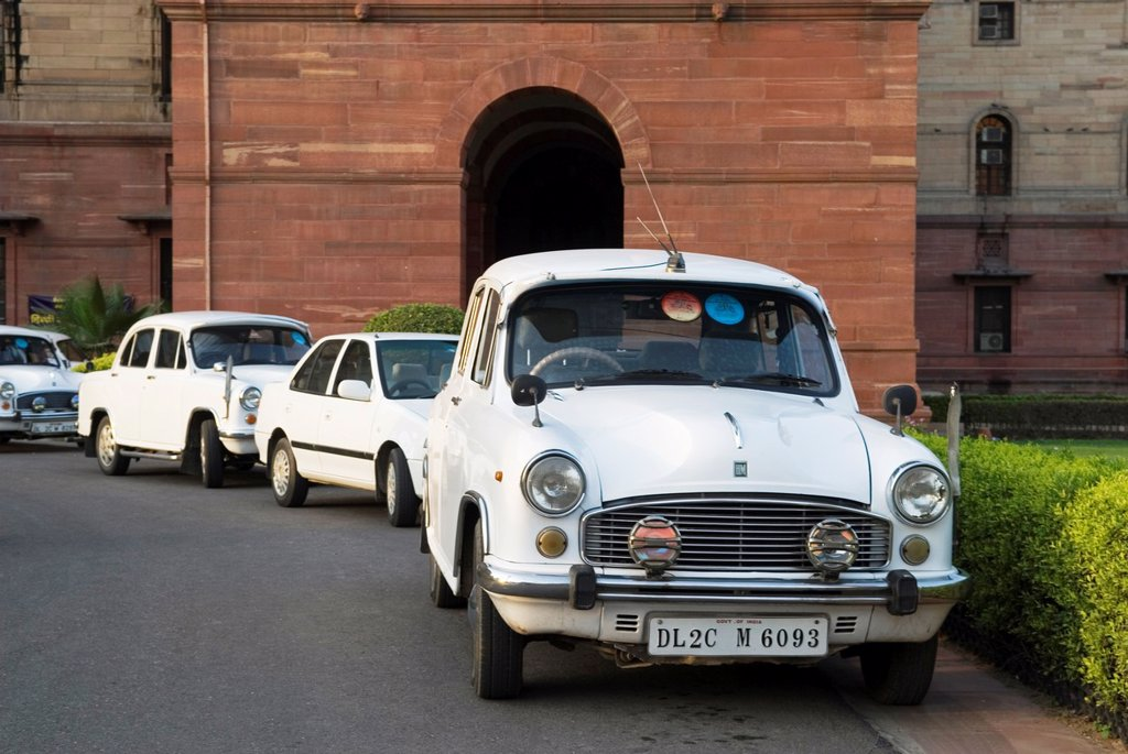 Ambassador cars in front of the ministerial building of government, New Delhi, India, Asia : Stock Photo