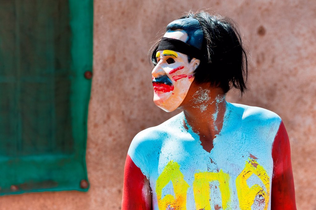 "Stock Photo: 1566-1139384 A Cora Indian man, wearing a colorful mask, takes a part in the religious ritual ceremony of Semana Santa Holy Week in Jesús María, Nayarit, Mexico, 22 April 2011  The annual week-long Easter festivity called ""La Judea"", performed in the rugged mountain c. A Cora Indian man, wearing a colorful mask, takes a part in the religious ritual ceremony of Semana Santa Holy Week in Jesús María, Nayarit, Mexico, 22 April 2011  The annual week-long Easter festivity called ""La Judea"", performed in the rugge"