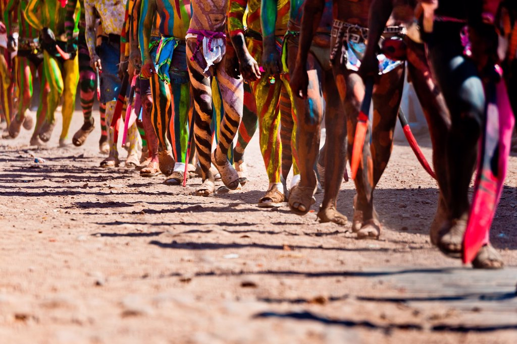 "Stock Photo: 1566-1139846 Cora Indians, with bodies painted colorfully, run during the religious ritual celebration of Semana Santa Holy Week in Jesús María, Nayarit, Mexico, 22 April 2011  The annual week-long Easter festivity called ""La Judea"", performed in the rugged mountain c. Cora Indians, with bodies painted colorfully, run during the religious ritual celebration of Semana Santa Holy Week in Jesús María, Nayarit, Mexico, 22 April 2011  The annual week-long Easter festivity called ""La Judea"", performed in the rugge"