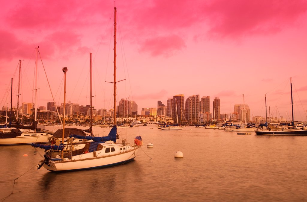 EMBARCADERO SKYLINE DOWNTOWN SAN DIEGO CALIFORNIA USA : Stock Photo