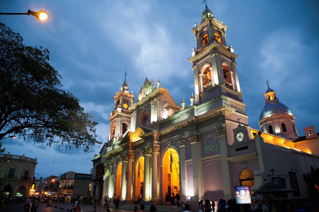Iglesia Catedral, the main cathedral on 9 julio square,Salta city, Argentina : Stock Photo