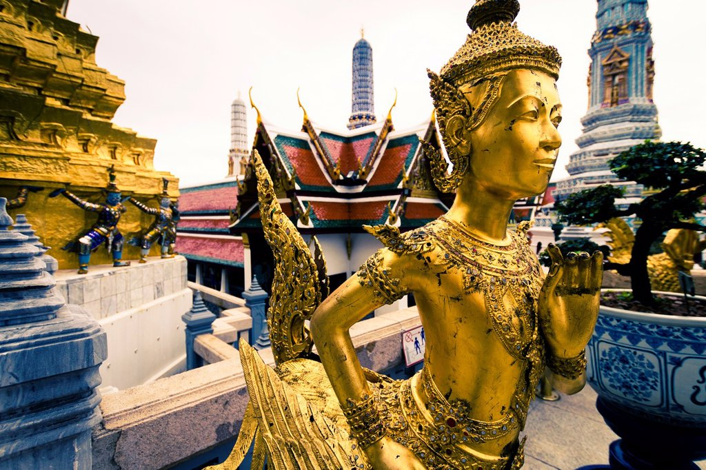 Stock Photo: 1566-1140395 Statue of a kinnara  Wat Phra Kaew or Temple of the Emerald Buddha  Grand Palace  Bangkok, Thailand