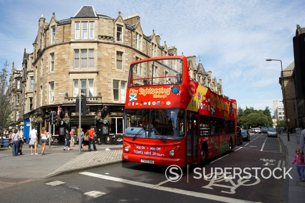 Stock Photo: 1566-1140496 red city sightseeing bus on teviot place edinburgh, scotland, uk, united kingdom