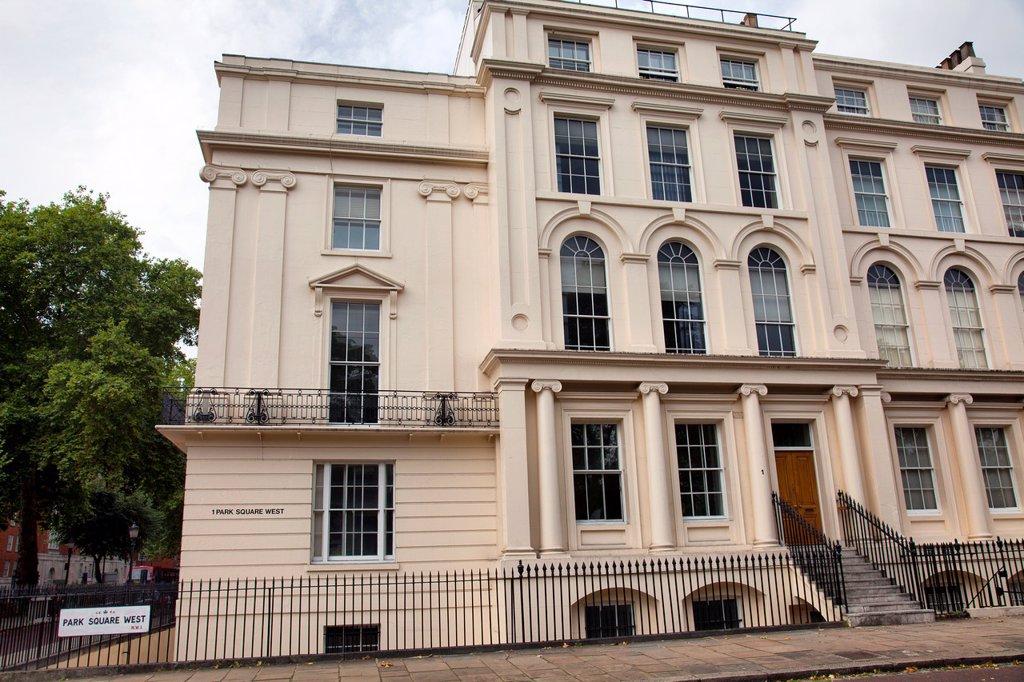 Stock Photo: 1566-1140612 Park Square West Homes near Regents Park - London UK