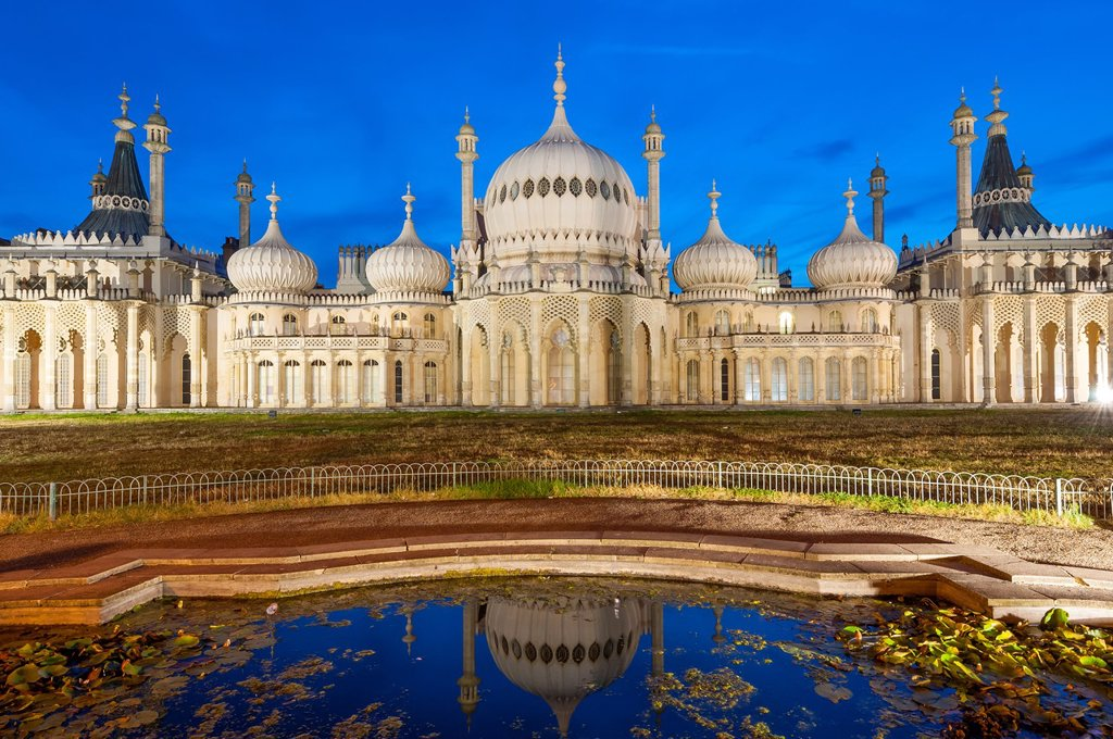 Stock Photo: 1566-1140963 Royal, Pavilion, Brighton, East, Sussex, England , Onion shaped dome of19th Century Royal Pavilion designed in Indo- Saracenic style by John Nash