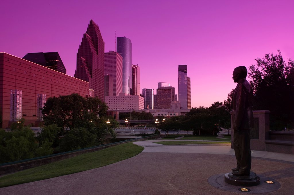 Stock Photo: 1566-1141041 GEORGE BUSH MONUMENT SESQUICENTENNIAL PARK DOWNTOWN SKYLINE HOUSTON TEXAS USA