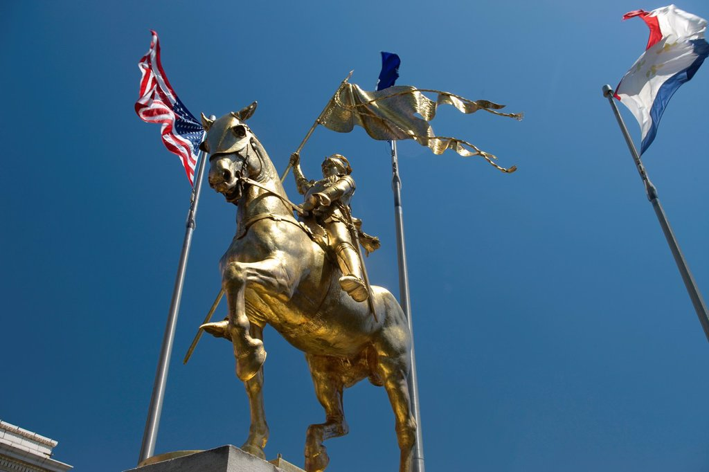 Stock Photo: 1566-1141245 JOAN OF ARC STATUE PLACE DE FRANCE DECATUR STREET FRENCH MARKET FRENCH QUARTER DOWNTOWN NEW ORLEANS LOUISIANA USA