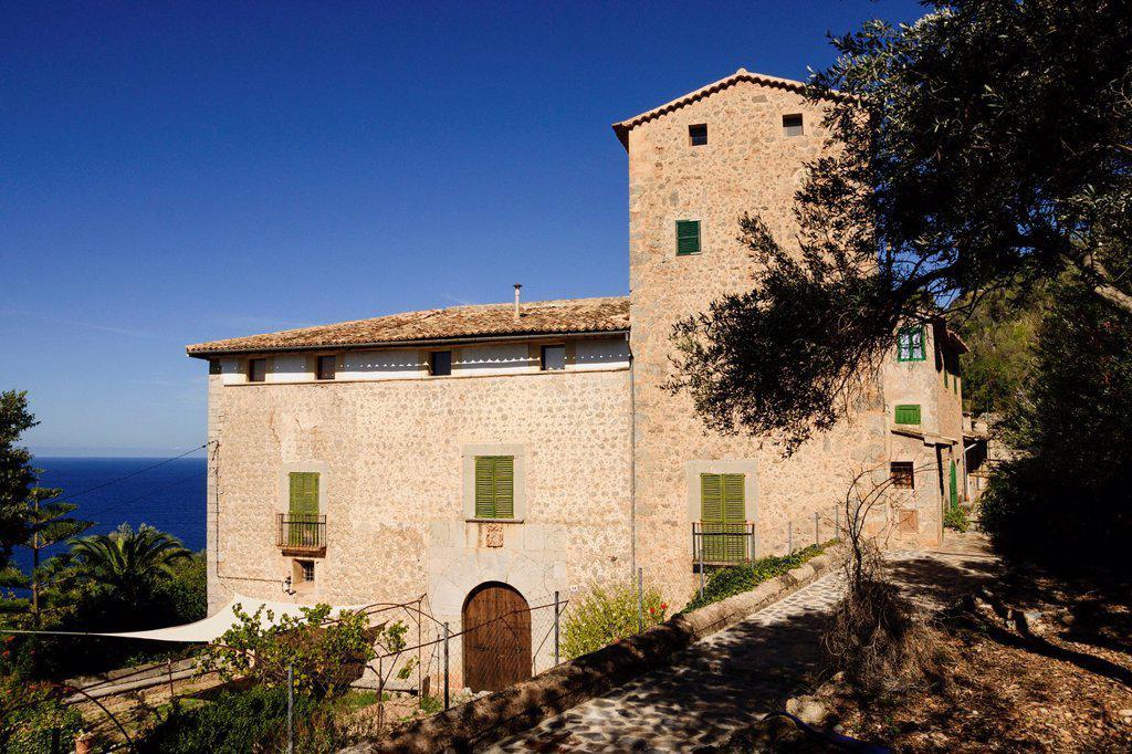 House D Amunt, Lluc Alcari - ancient forest village, Sierra de Tramuntana Deia Mallorca Balearic Islands Spain : Stock Photo