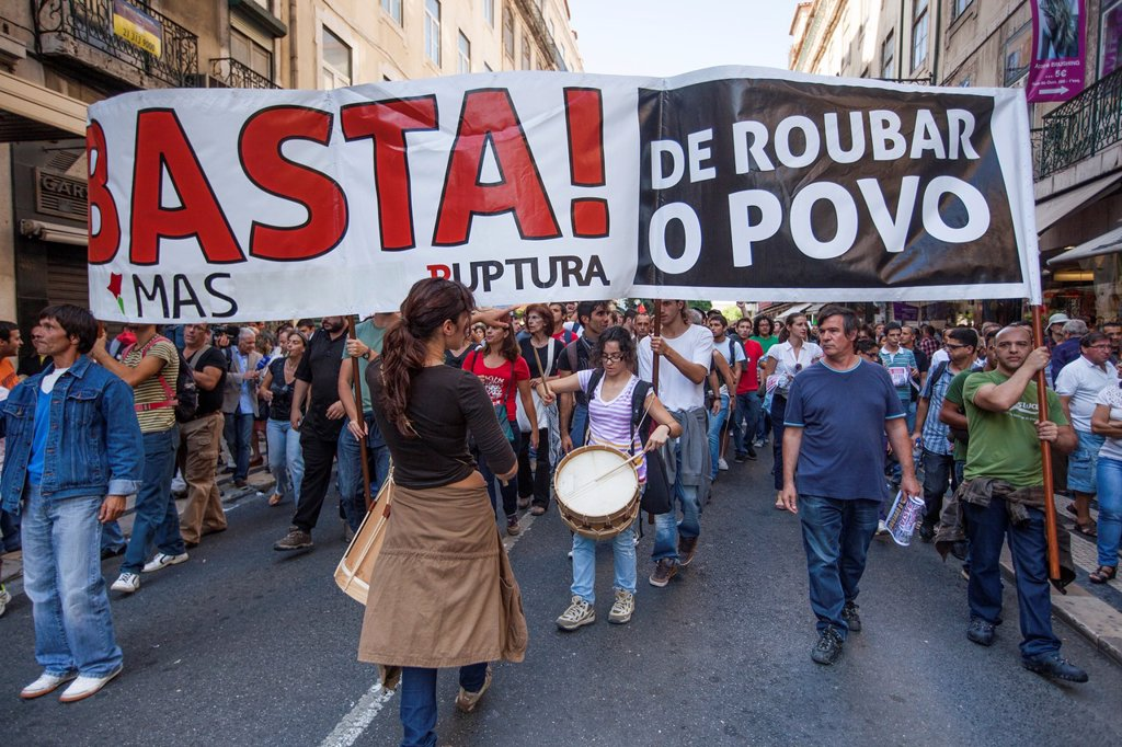 Stock Photo: 1566-1141497 CGTP Protests in Lisbon, 29 September 2012, Portugal