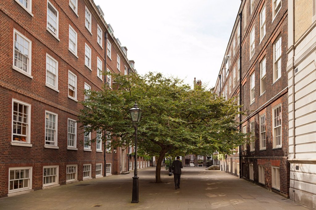 Pump Court between the temple church and middle temple lane : Stock Photo